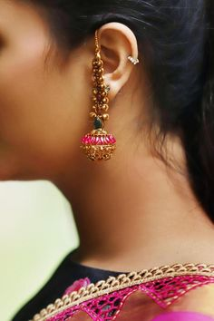 Items similar to Green And Pink Gold Plated Temple Work South Indian Earrings on Etsy Gold Jhumka Earrings, Gold Earrings Designs, Indian Earrings, Gold Jewellery Design, Etsy Earrings, Indian Jewelry, Gold Necklace, Fancy Jewellery, Gold Designs