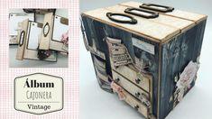 Tutorial, Álbum cajonera vintage Papel Scrapbook, Mini Scrapbook Albums, Scrapbook Sketches, Scrapbooking Layouts, Mini Albums, Decoupage, Mini Album Tutorial, Alternative Art, Graphic 45