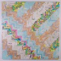"""48"""" X 48"""" X 1.5 Rectangle Tessellation Map Collage on wood panel"""