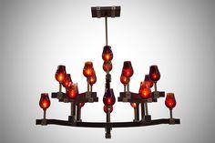 Custom Spike Lighting Chandelier #moderndesign #globelight #wineglass #lightfixtures #chandelier #pendant #hospitalitydesign #customlighting #castbrass