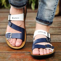 High Quality Men's Sandals Summer Anti-skid Leisure Beach Flat Sandals Outdoor Slip-on Leather Shoes for Male Soft Bottom-Touchy High-Quality Men's Sandals Summer Anti-skid Leisure Beach Flat Sandals Outdoor Slip-on Leather Shoes for Male Soft Bottom. Mens Dress Sandals, Sandals Outfit, Men Sandals, Flat Sandals, Leather Fashion, Leather Men, Summer Shoes, Leather Sandals, Casual Shoes