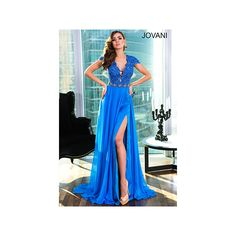 Couture Dresses, Red Carpet Dresses|Jovani Couture ❤ liked on Polyvore featuring dresses, embellished dress, jovani dresses, couture dresses, blue embellished dress and blue dress