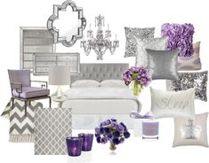 """Lavender and Grey Bedroom"" by chloeg01 on Polyvore"
