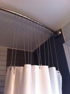 Rather than traditional shower curtain hooks  and we can hang the rod right  to theShower Curtains Made From Burlap  Silk And More    Wood trim  . Extra Large Shower Curtain Hooks. Home Design Ideas