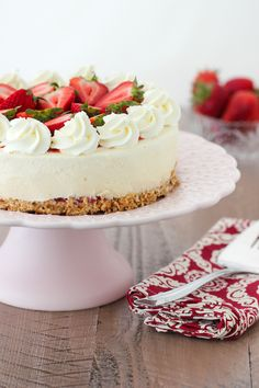 Strawberry Cheesecake Ice Cream Cake – Olga's Flavor Factory – Michelle Wexler Strawberry Ice Cream Cake, Chocolate Raspberry Cake, Strawberry Cheesecake, Strawberry Jam, Cheesecake Ice Cream, Cheesecake Recipes, Cherry Cake Recipe, Birthday Cheesecake, Cheesecake Decoration