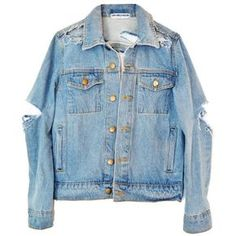 SO RIPPED DENIM JACKET (385 BRL) ❤ liked on Polyvore featuring outerwear, jackets, tops, coats & jackets, blue jackets, blue jean jacket, denim jacket, distressed denim jacket and distressed jean jacket