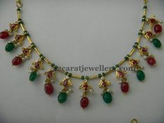 Drops Necklace only 14 Gms Gold Earrings Designs, Gold Jewellery Design, Bead Jewellery, Necklace Designs, Beaded Jewelry, Beaded Necklace, India Jewelry, Antic Jewellery, Jewelery