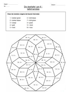 MANDALA  Versie 1: tafels van wiskunde  Versie 2: uitgangen van Franse werkwoorden Multiplication, Math Games, Math Activities, Numbers For Kids, Math Help, School Bulletin Boards, 2nd Grade Math, Math Classroom, Math Resources