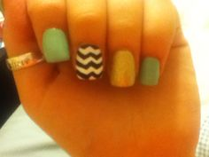 Teal, gold, and chevron acrylics :)