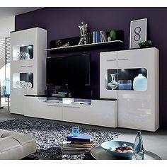 Ebay Angebot Wohnwand Locky Anbauwand In Weiß Hochglanz Und Schwarz Mit  LEDIhr QuickBerater