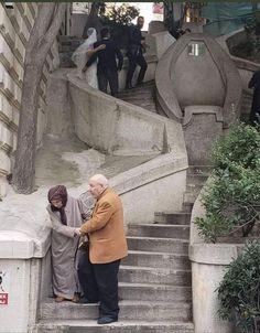 Stairway of life Cute Muslim Couples, Old Couples, Cute Couples Goals, Couple Aesthetic, Aesthetic Pictures, Muslim Couple Photography, Muslim Images, Islam Women, Love In Islam