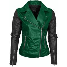 Leather Skin Womens Green Brando Genuine Leather Jacket with Black Sleeves Lederhaut Damen Grün B . Green Leather Jackets, Leather Jacket Outfits, Leather Skin, Black Leather, Soft Leather, Biker Leather, Vintage Leather, Revival Clothing, Leather Design
