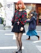 Pink Hair, Ripped Stockings & Studded Rocking Horse Shoes in Harajuku