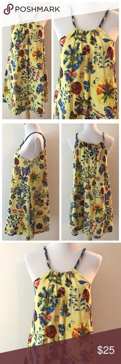 Yellow Floral Vanessa Virginia Tent Dress Gorgeous dress! In great shape, dress is a loose tent style with side pockets and completely lined. Size 6, but could fit up to a 10. By Vanessa Virginia, from Anthropologie. Anthropologie Dresses