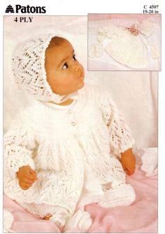 Baby knitting pattern baby set baby lacy matinee coat by Minihobo Baby Mittens Knitting Pattern, Baby Knitting Free, Knitting Patterns Free, Knitting Tutorials, Stitch Patterns, Crochet Patterns, Knitting Designs, Vogue Knitting, Knitting Books