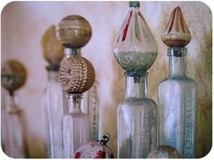 vintage christmas ornaments used as stoppers