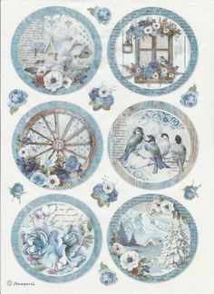 Rice Paper for Decoupage, Scrapbook Sheet, Craft Paper Birds and Blue Butterfly Images Vintage, Vintage Pictures, Etiquette Vintage, Decoupage Printables, Decoupage Vintage, Vintage Paper Crafts, Theme Noel, Printable Paper, Free Printable