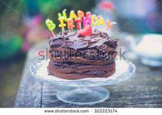Happy birthday chocolate cake - stock photo