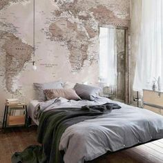 Beautiful map accent wall