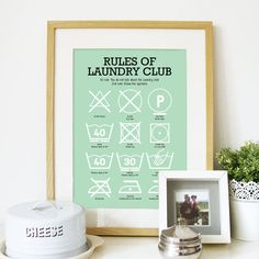 A genius print that decodes those care tag pictograms is a must-have for the laundry room.