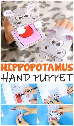 Hippopotamus Puppet Printable Template Paper Craft Idea for Kids