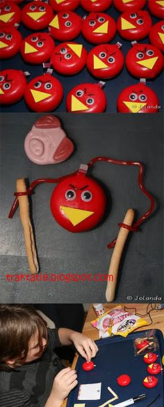 Baby bells bread sticks and strawberry laces and Percy pigs just to make a angry birds food game EPIC