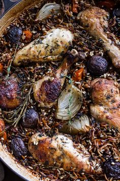 One-Pot Autumn Herb Roasted Chicken with Butter Toasted Wild Rice Pilaf by halfbakedharavest #Chicken #Herbs #Wild_Rice #One_Pot #Autumn