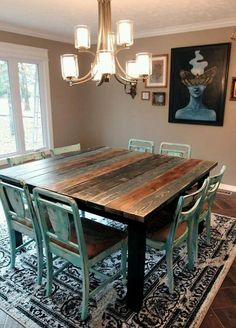 Search for farmhouse table designs and dining room tables now. this modern farmhouse dining room table is the perfect addition to any dining table space. Shabby Chic Homes, Shabby Chic Decor, Rustic Decor, Farmhouse Kitchen Tables, Rustic Farmhouse, Rustic Kitchen, Western Kitchen Decor, Farmhouse Style Table, Wooden Kitchen
