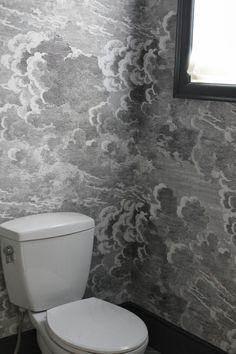 Fornasetti Nuvole wallpaper by Cole & Son Bathroom Wallpaper, Wallpaper, Cloakroom Wallpaper, Closet Wallpaper, Fornasetti, Powder Room Wallpaper, Beautiful Bathrooms, Cloud Wallpaper Bedroom, Cloud Wallpaper