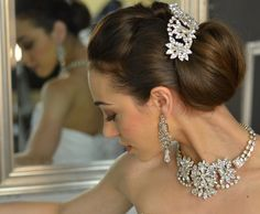 Glamorous Elena Designs Wedding  Hair Comb and Jewelry Set E769 - Silver or Gold- Affordable Elegance Bridal