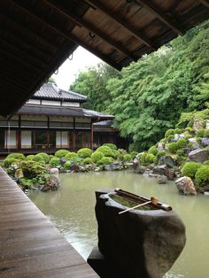Zen pond at a temple in Kyoto, Japan.
