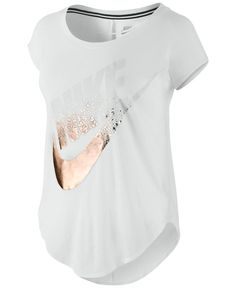 Nike Metallic Logo T-Shirt - Tops - Women - Macy's - Time 4 Sport Nike Outfits, Winter Outfits, Casual Outfits, Fitness Outfits, Simple Outfits, Teen Fashion, Runway Fashion, Fashion Trends, Fashion Shoes