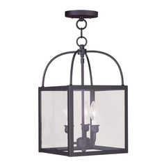 Shop Livex Lighting Milford 10-in W Bronze Pendant Light with Clear Shade at Lowes.com