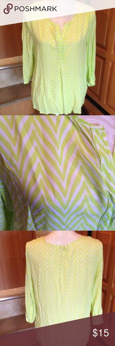 Stylus Green Zebra Blouse L Good pre-loved condition. Only worn for a season. 3/4 length sleeves that button. 3 buttons on front. I do NOT trade. Bundle to save! Stylus Tops Blouses