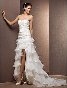 bainha / coluna de trem tribunal namorada de tafetá e organza vestido de casamento com trem removível - BRL R$ 597,06