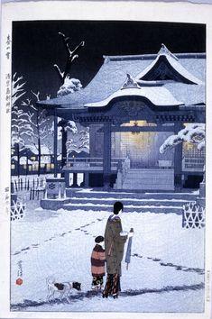 Haru no yuki - Asakusa Torigoe jinja (Spring Snow - The Torigoe Shrine at Asakusa) Woodblock print. Woman and child approaching in the Torigoe shrine, Asakusa in the snow. Print artist: Kasamatsu Shiro (笠松紫浪)