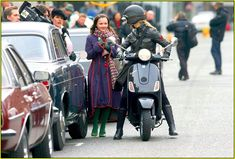 Reese Witherspoon rides a Vespa in Penelope Vespa, Penelope Movie, Cute Love Stories, Purple Coat, Colored Tights, Just Jared, Christina Ricci, Reese Witherspoon, Great Movies