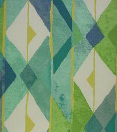 Exciting watercolor geomtric pattern featuring Seabreeze Green and Blue color tones. Content: 100% Cotton Sateen Width: 54 Inches Fabric Type: Print Upholstery Grade: N/A Horizontal Repeat: N/A Vertic