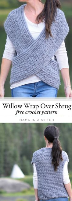 Willow wrap over shrug. Such a cute and easy crocheted shrug design! There's a free pattern and a link to a stitch tutorial as well.