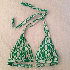 "Roxy Print Bikini Top Green and white ""Roxy"" printed halter bikini top. Gold detail Roxy Swim Bikinis"