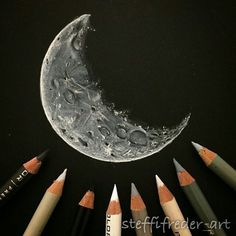 Repost from @steffifreder_art ・・・ Just felt like drawing a moon tonight!Prismacolor pencils on black Strathmore Artagain sketchbook. ▄▄▄▄▄▄▄▄▄▄▄▄▄▄▄▄▄▄▄▄ FOLLOW @zbynekkysela & TAG your artworks #BOUCHAC to be FEATURED! ▬▬▬▬▬▬▬▬▬▬▬▬▬▬▬▬▬▬▬▬ HOT TIPS CLICK link in my profile ▄▄▄▄▄▄▄▄▄▄▄▄▄▄▄▄▄▄▄▄ | Instagram Digital Art
