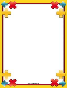 The signs on this printable yellow math border are simple arithmetic equations and signs. Free to download and print.