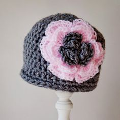 Crochet pink and grey beanie