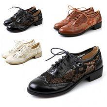2015 Verão das Mulheres Do Sexo Feminino Moda Vintage Lacing Calcanhar Plana Gaze Sapatos Oxfords Mulheres Sandálias Planas Plus Size 34-43 Preto + Marrom(China (Mainland))