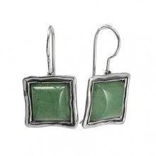 Silver Earrings with Aventurine