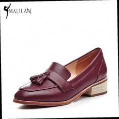 46.20$  Watch here - http://ali37j.worldwells.pw/go.php?t=32783762952 - MALILAN Genuine Leather Loafers Women 2017 Spring Women Casual Shoes Fashion Low Heel Tassels Zapatos Mujer Ladies Loafers 46.20$