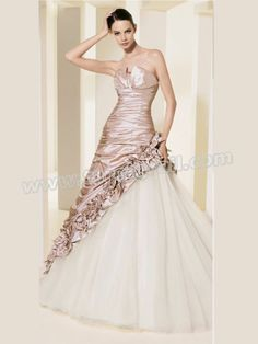 A-Line Adorned with Strapless Neckline with Shirring Wedding Dress