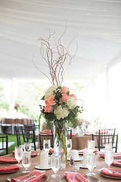 Pink Roses and White Hydrangea with Willow Branches  http://busseysflorist.com/wedding-flowers/
