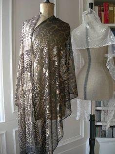 Stunning antique 1920s Assuit hammered metal & tulle shawl | eBay