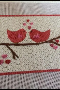Love the background, needlepoint red birds with heart background